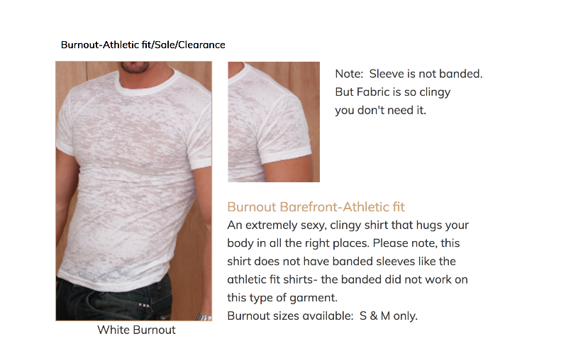Burnout athletic fit barefront